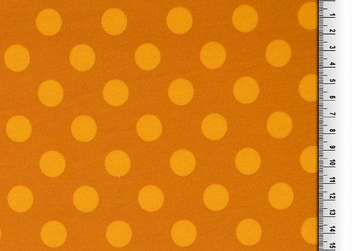 Wintersweat Sweat Punkte gelb senfgelb ocker Kombistoff Meterware Ba