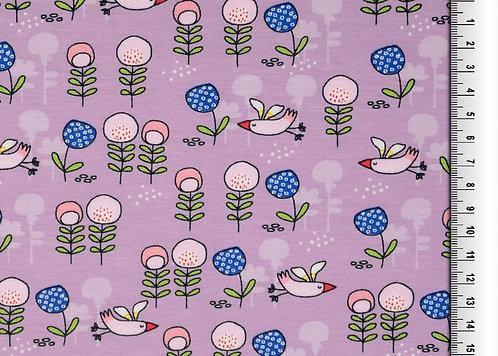 Vögel Blumen flieder Jersey Baumwolljersey Meterware