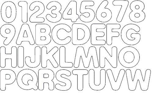 8cm Doodle Buchstaben und Zahlen Stickdatei Alphabet Zahl