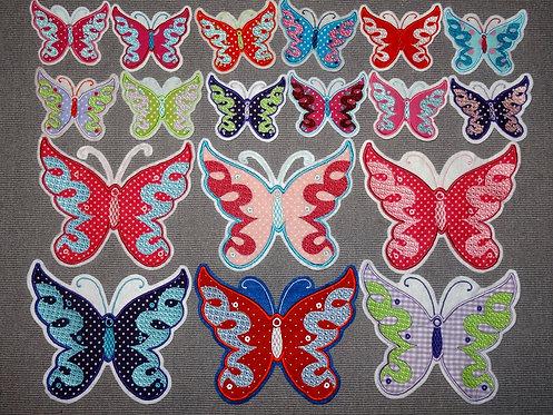 Schmetterling Aufnäher in verschiedenen Farben