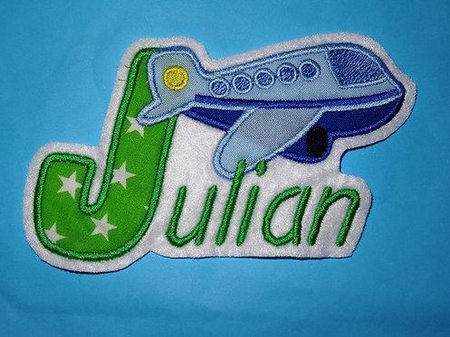 Flugzeug mit Name Aufnäher