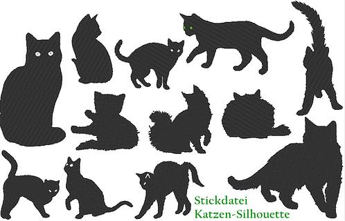 Katze Silhouette Stickdatei