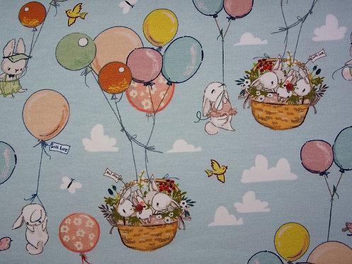 Hase Hasen Ballon Luftballon FVJ Baumwolljersey Jersey Meterware