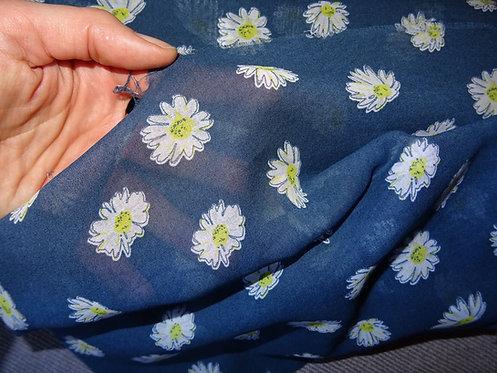 extra leichter Baumwollstoff mit Blumen dunkelblau Baumwolle Meterware Webware