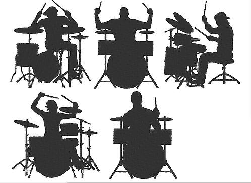 Schlagzeug Stickdatei Silhouetten