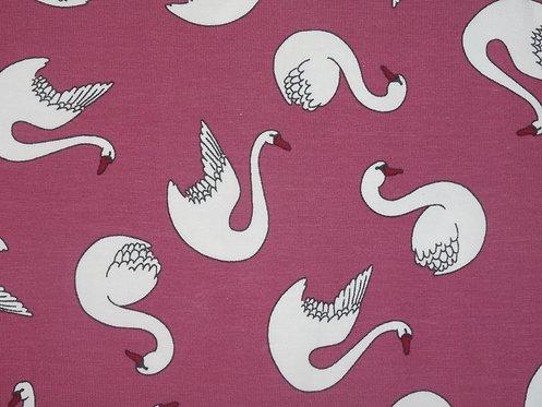 Schwäne Schwan weiß auf pink Organic Baumwolle Jersey Bio