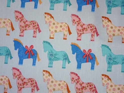 Bunte Pferdchen auf hellblau  Baumwolle Meterware Pferd Retro nostalgis