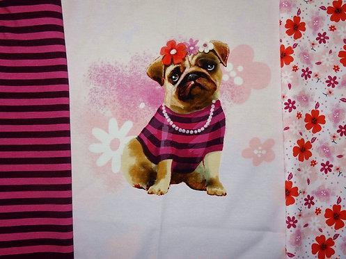Cute Bulldogge Streifen Blumen Panel Digtaldruck Jersey Baumwolljersey