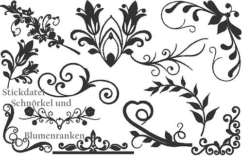 Blumenranken und Schnörkel Stickdatei