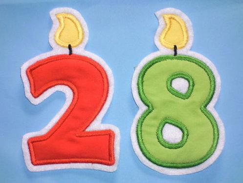 Zahl Geburtstagskerze Aufnäher in Wunschfarbe