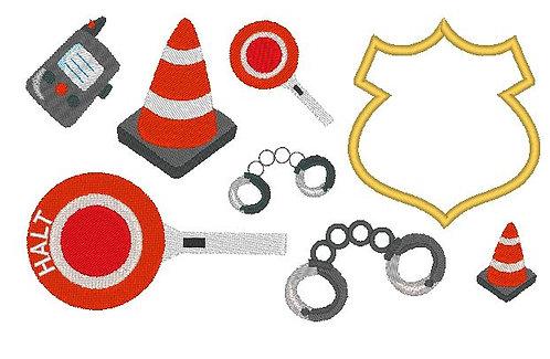 Polizei Zubehör Stickdatei Kegel Kelle Handschellen Button
