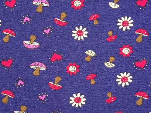Fliegenpilz mit Blume auf lila Jersey Baumwolljersey Meterware