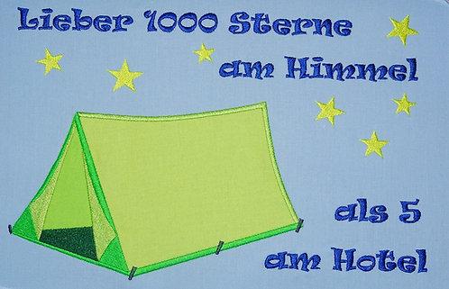 Zelt, Lieber 1000 Sterne am Himmel, Camping Stickdatei