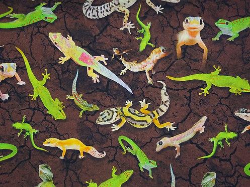 Gecko Echse Salamander grün braun Digitaldruck Jersey Meterware Baumwolljersey