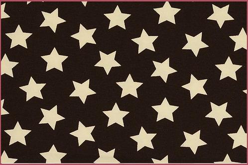 Sterne 2,5cm dunkelbraun weiß Jersey Baumwolljersey Meterware