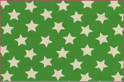 Sterne 2,5cm grün weiß Jersey Baumwolljersey Meterware