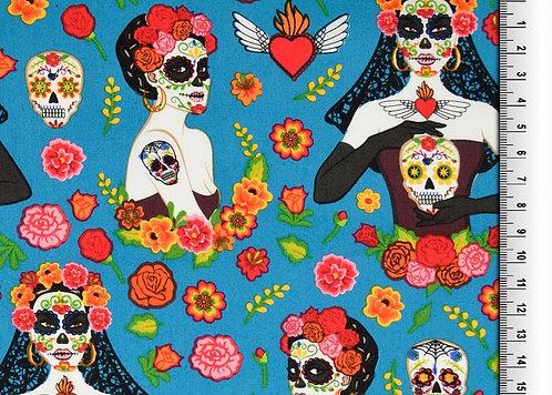 Frieda Skull bunt auf türkis Baumwolle Meterware