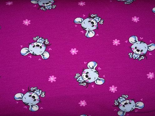 Maus Mäuschen magenta pink Wintersweat Jersey French Terry angeraut Meterware