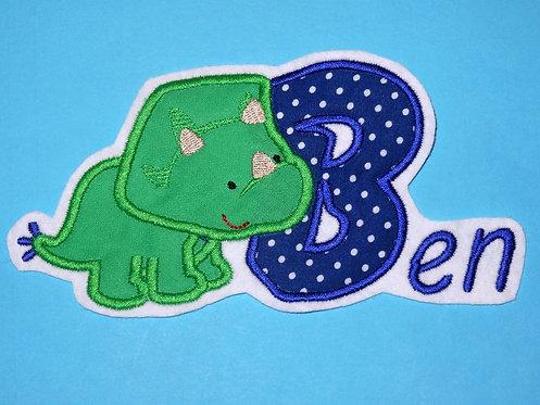 Dino mit Name Aufnäher
