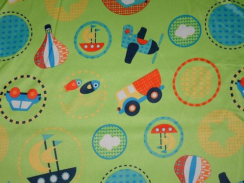 Verdunklungsstoff Kindermotiv für Jungs Schiff Flugzeug Auto Kreise auf hellgrün