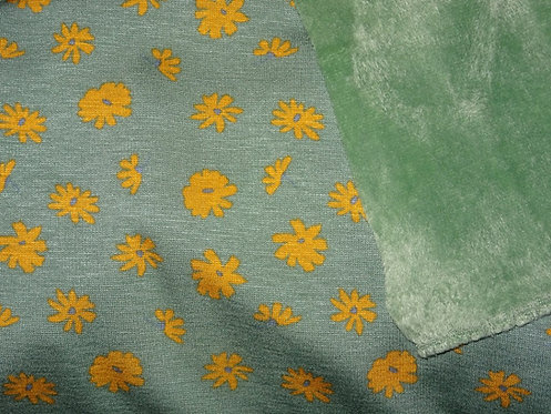 Alpenfleece Blumen grün gelb mint Wellnessfleece Fleece Jersey Meterware