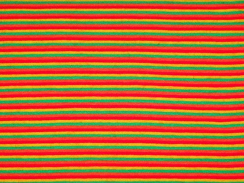 Jersey Streifen 2mm gelb grün orange rot Meterware