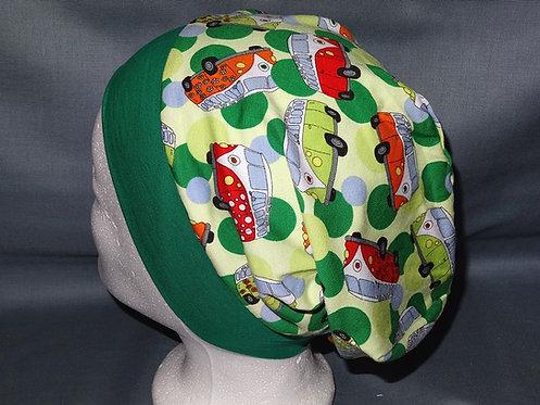 Beanie Bus Hippibus Camping grün Mütze Handmade genäht Jersey Mädche