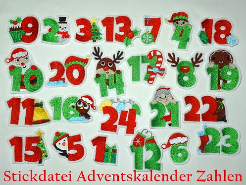 Adventskalender Zahlen Stickdatei
