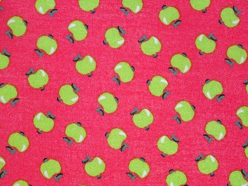 Obst Apfel grün auf lachs Sommer allover Baumwolle Meterware