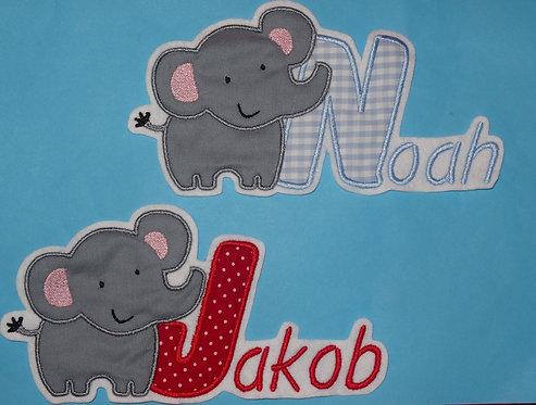 Elefant mit Name Aufnäher