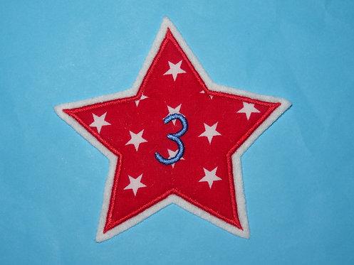 Stern mit Zahl Aufnäher in Wunschfarbe