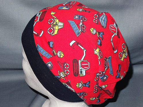 Beanie Baustelle rot Mütze Handmade genäht Jersey