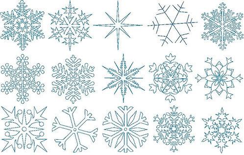 Mega Set Schneeflocken Schneestern Stern Stickdatei