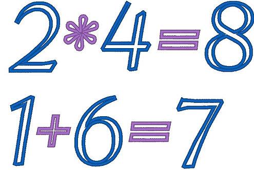 Zahlen 8cm und Rechen Zeichen Stickdatei Mathe Vokabeln