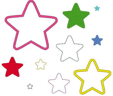 Stickdatei Stern gefüllt, als einfache Linie und für Stoffapplis
