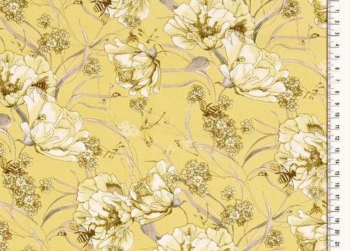 Viskose Webware Blumen auf gelb mit Bienchen edel Meterware Retro leicht