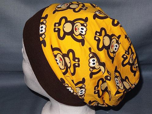 Beanie Affe auf gelb Mütze Tiere Handmade genäht Jersey