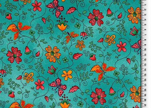 Blumen und Schmetterling grün Baumwolle Meterware organic
