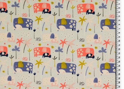 Elefant auf hellblau Baumwolle Meterware