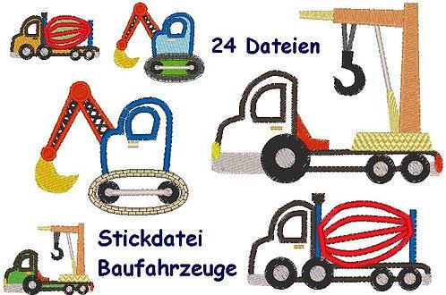 Stickdatei Baufahrzeuge Mischer Kran Auto Bagger