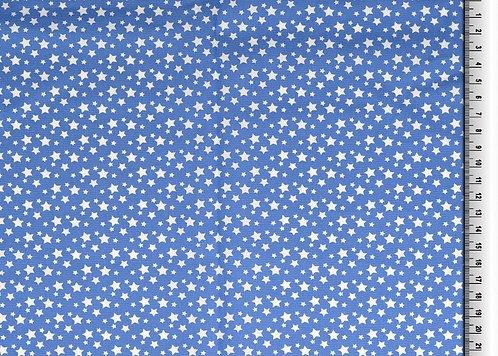 kleine Sterne weiß auf mittelblau Baumwolle Meterware