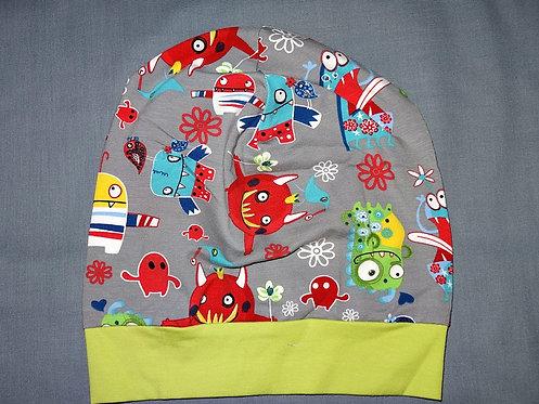 Beanie Monster grau bunt  Mütze Handmade genäht Jersey