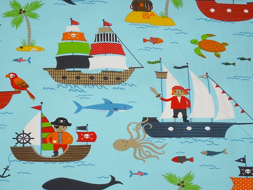 Piraten auf türkis Piratenschiff Jersey Pirat 190cm breit