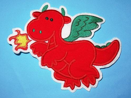 XL Drache Aufnäher grün rot