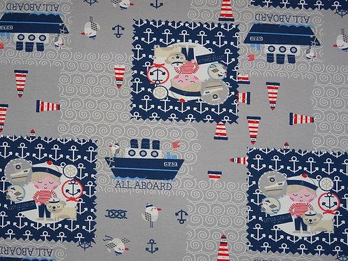 Hafenjunge  auf grau Jersey Baumwolle Meterware Baumwolljersey