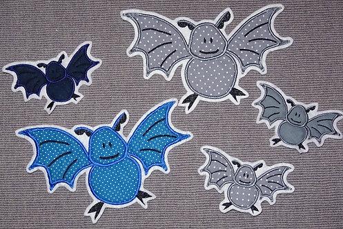 Fledermaus Aufnäher grau oder blau