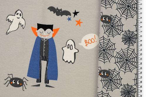Vampir Kinderstoff Spinne Spinnennetz Fasching Grau Panel Jersey Baumwolljersey