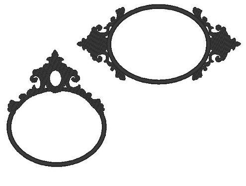 Schmuck Rahmen oval Stickdatei