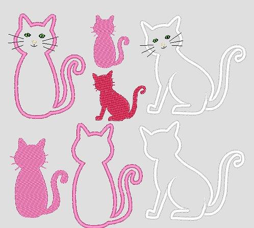 Katze Stickdatei Silhouette und Stoff-Applis