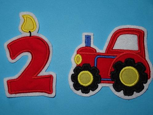 Traktor mit Wunschzahl als Kerze Aufnäher rot